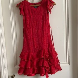 Girls red lacy tiered ruffle dress size 10